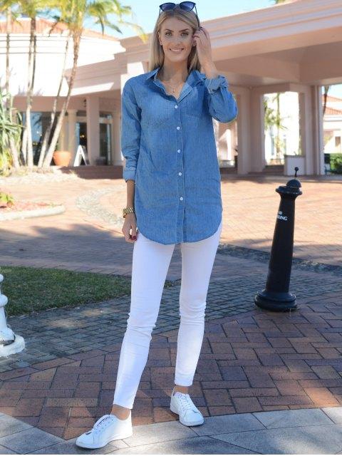 womens Turn-Down Collar Denim Solid Color Dress - LIGHT BLUE S Mobile