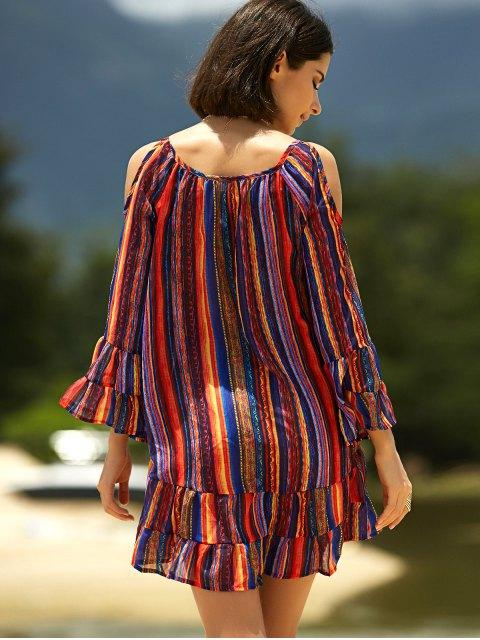 outfits Cold Shoulder Ruffle Dress - COLORMIX L Mobile