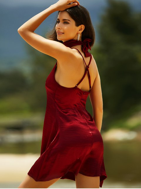 fancy Pure Color Cami Satin Dress - WINE RED XL Mobile