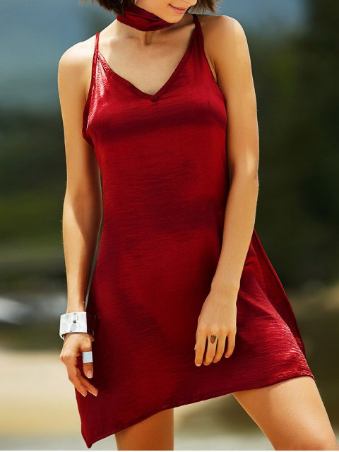 sale Pure Color Cami Satin Dress - WINE RED M Mobile