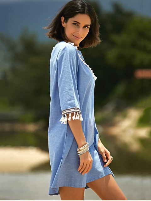 women's Lace Hook Round Neck 3/4 Sleeve Denim Dress - BLUE M Mobile