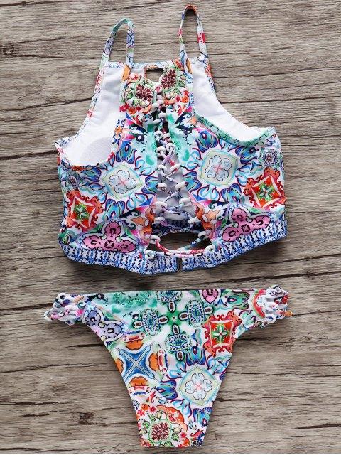 trendy High-Neck Keyhole Bikini Set - COLORMIX S Mobile