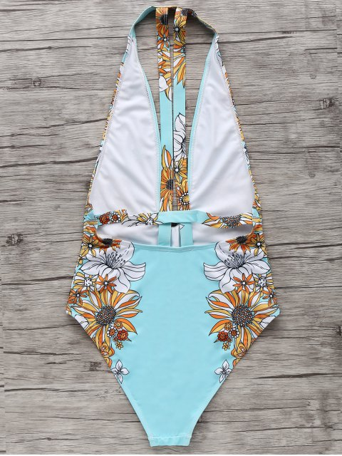 buy Floral One-Piece Plunge Swimsuit - LIGHT BLUE S Mobile