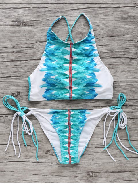 unique High-Neck String Bikini Set - WHITE AND GREEN S Mobile
