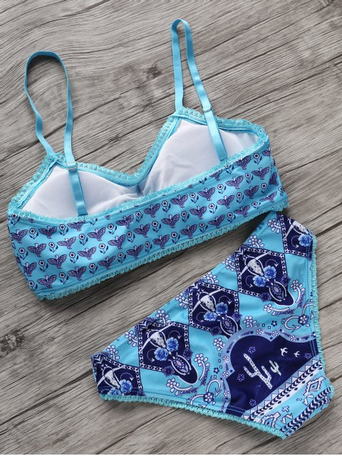 ladies Small Floral Bikini Set - BLUE AND GREEN M Mobile