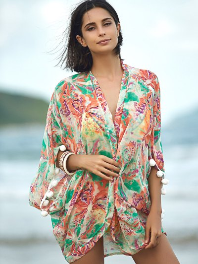 Print 3/4 Sleeve Cover Up от Zaful.com INT