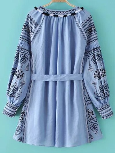 Round Neck Long Sleeve Belted Embroidered Dress - LIGHT BLUE L Mobile