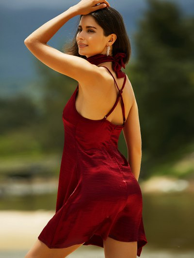 Pure Color Cami Satin Dress - WINE RED S Mobile