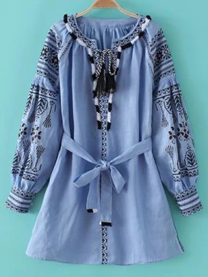 Round Neck Long Sleeve Belted Embroidered Dress - Light Blue
