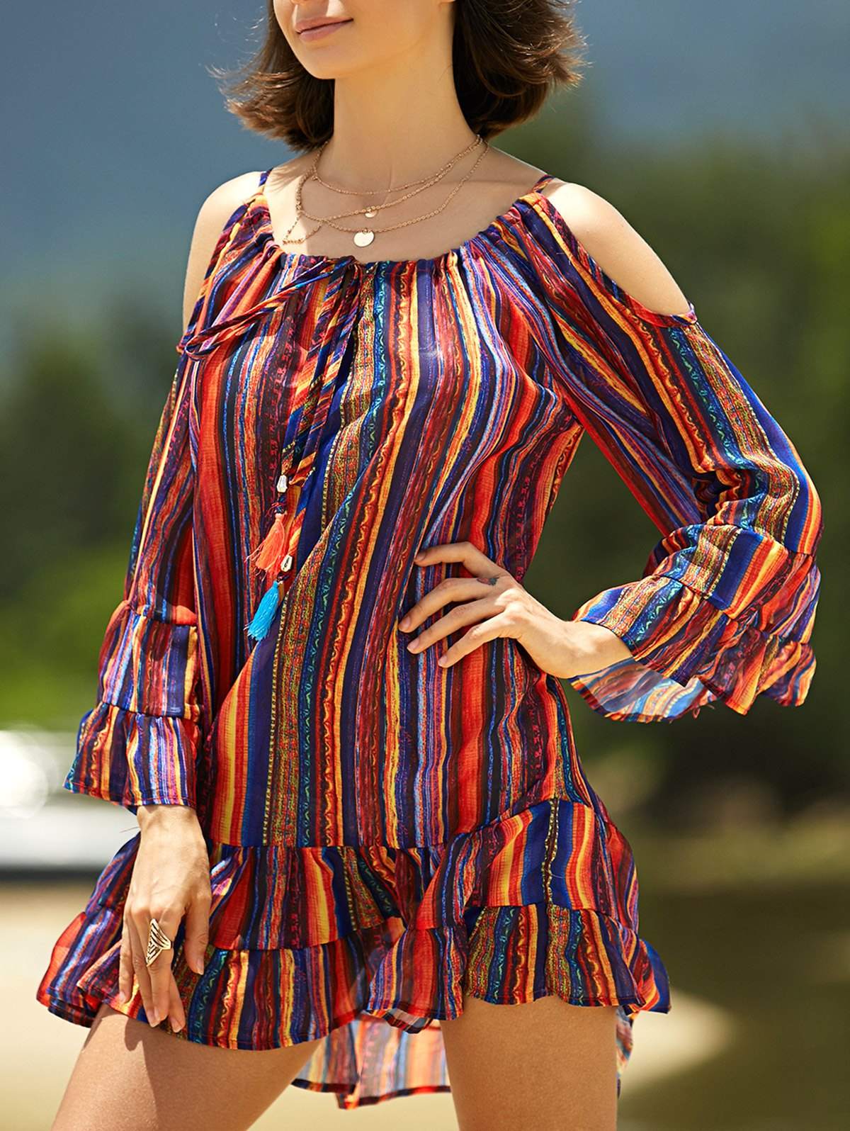 Cold Shoulder Multi-Colored Chiffon Dress