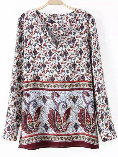 V-Neck Long Sleeves Paisley Pattern Blouse