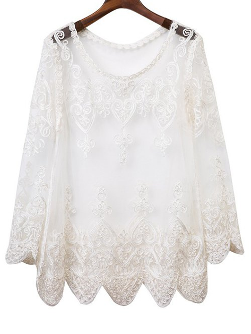 Round Neck Long Sleeve See-Through Voile Spliced Blouse