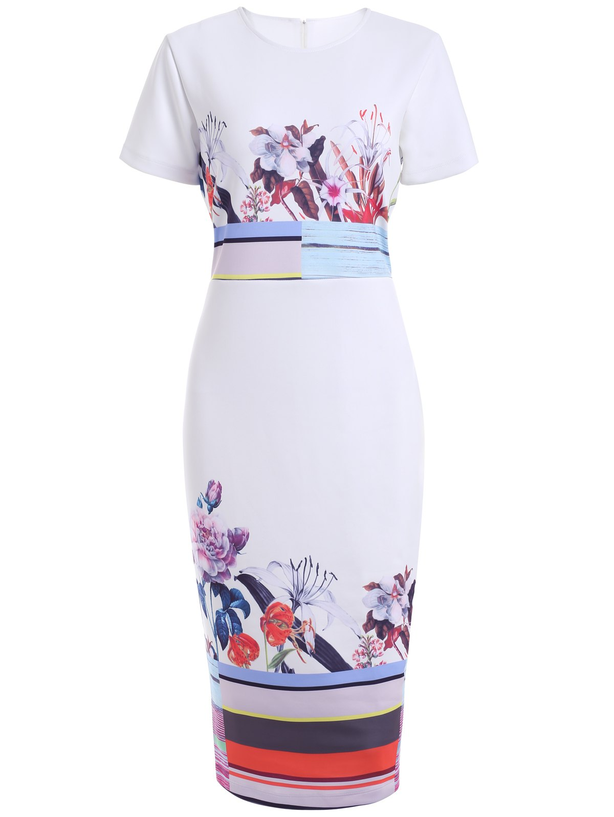 Flower Print Back Slit Bodycon Dress