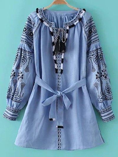 Round Neck Long Sleeve Belted Fringe Embroidered Dress