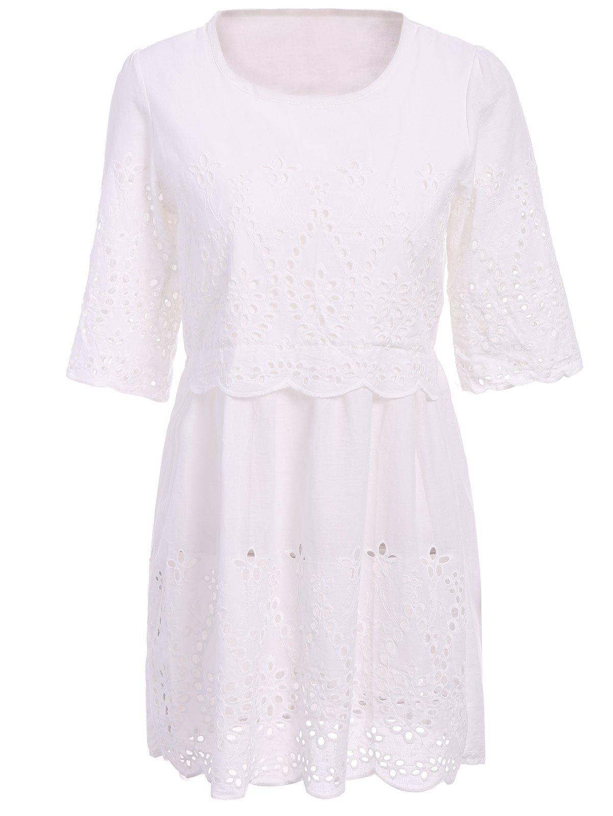 Openwork Solid Color 3/4 Sleeve Dress