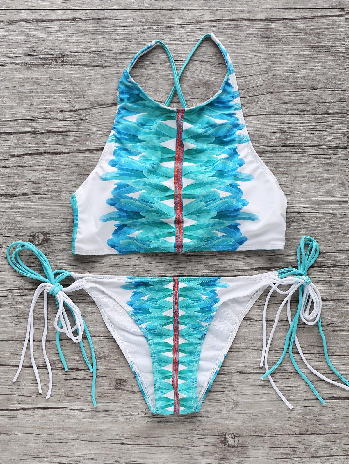 High-Neck Feather Print String Bikini Set