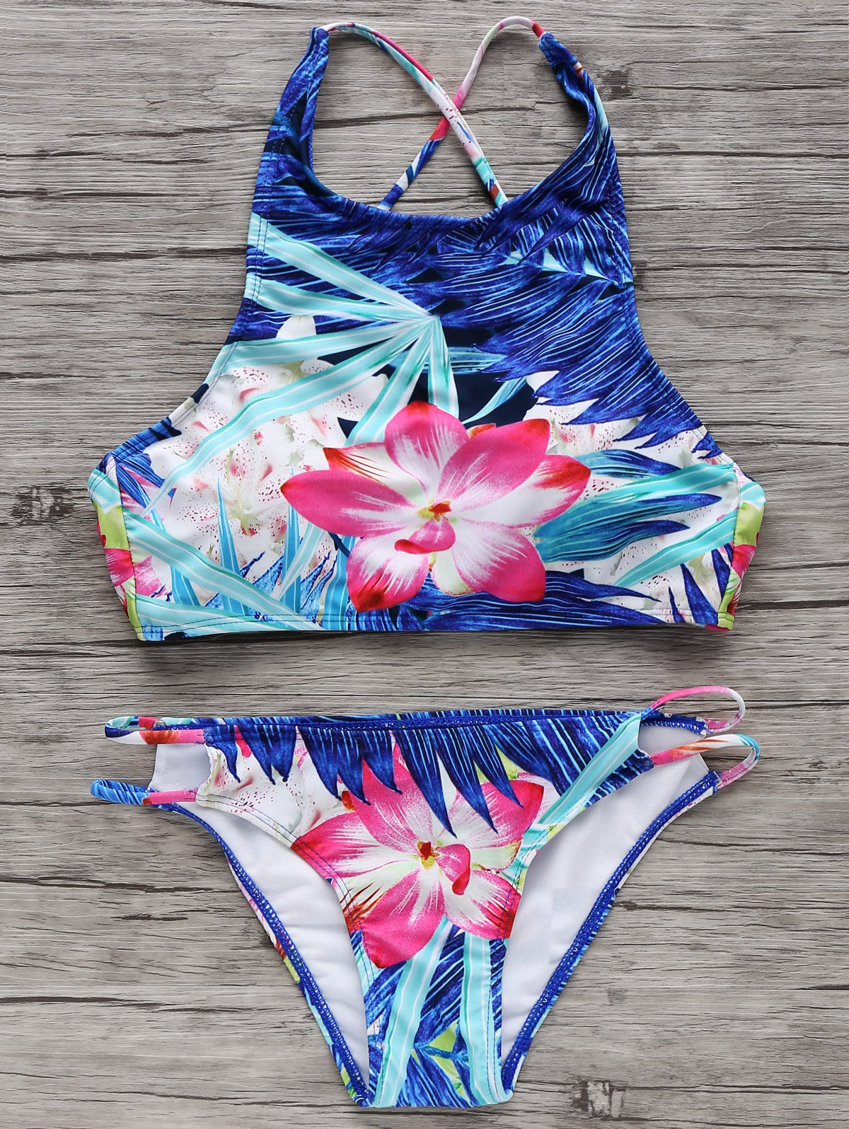 High-Neck Tropical Bikini Set