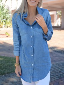 Turn-Down Collar Denim Solid Color Dress - Light Blue S