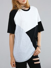 Color Block Round Neck Half Sleeve T-Shirt - White And Black