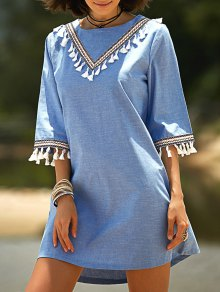 Lace Hook Round Neck 3/4 Sleeve Denim Dress - Blue M