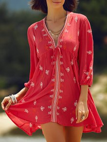 Retro Embroidery Plunging Neck 3/4 Sleeve Dress - Red