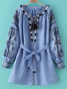 Round Neck Long Sleeve Belted Embroidered Dress - Light Blue M