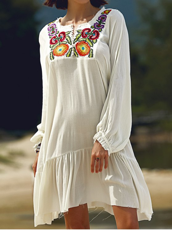 fancy Long Sleeve Embroidery Round Neck Dress - WHITE L