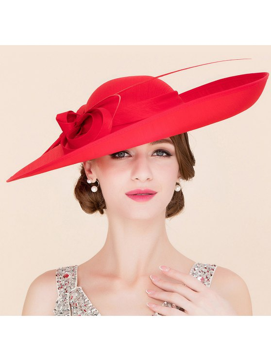 Elegant Red Cocktail Hat - RED  Mobile