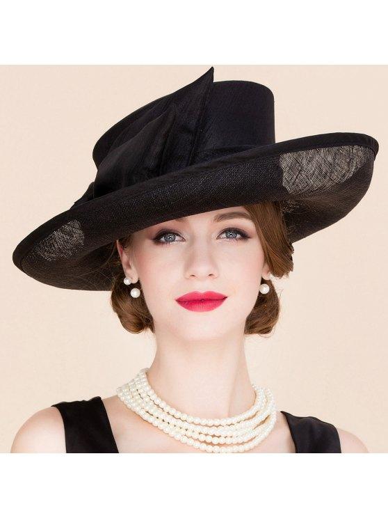 women Bowknot Black Linen Church Hat - BLACK