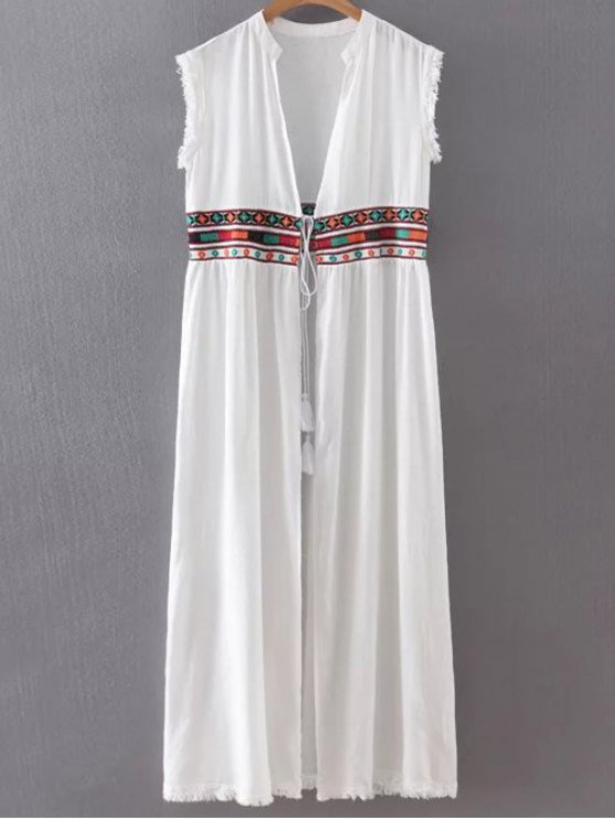 Collarless Fringe Drawstring Embroidered Waistcoat - WHITE M Mobile
