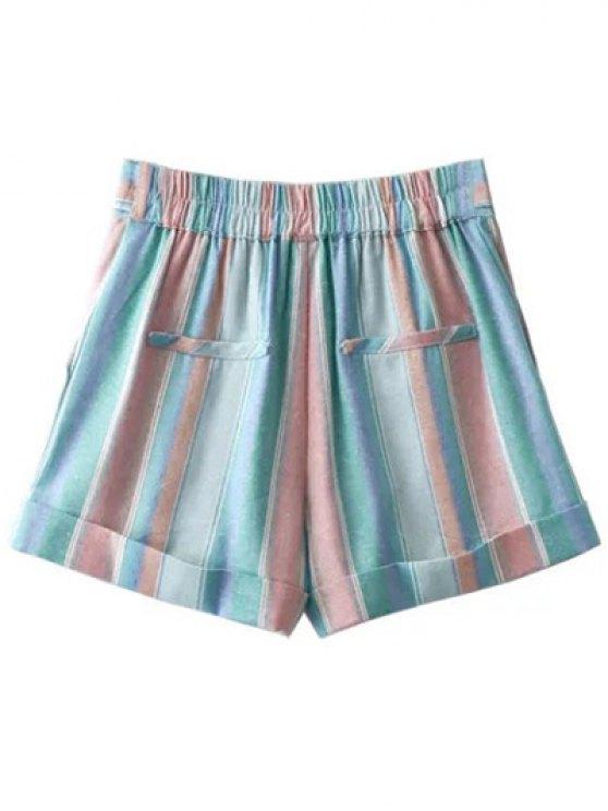 High Waist Striped Sugar Color Belted Shorts - LIGHT BLUE M Mobile