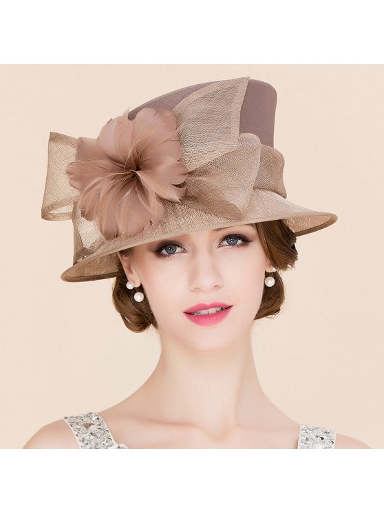 women's Flowered Linen Tea Party Hat - KHAKI