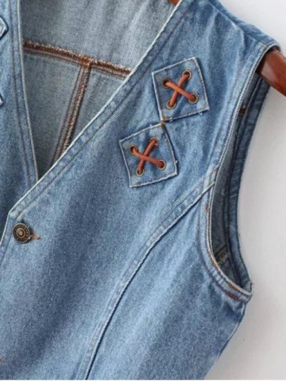 Criss Cross Bleach Wash Denim Waistcoat - LIGHT BLUE L Mobile