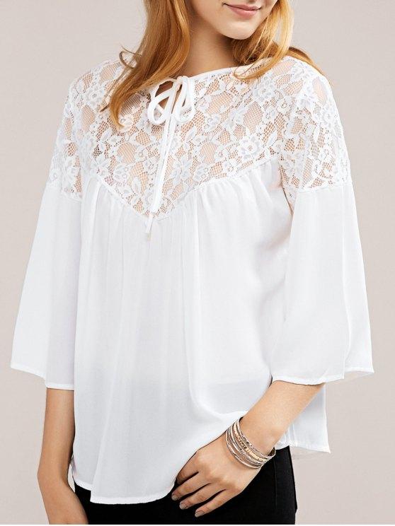trendy White Lace Chiffon Top - WHITE L