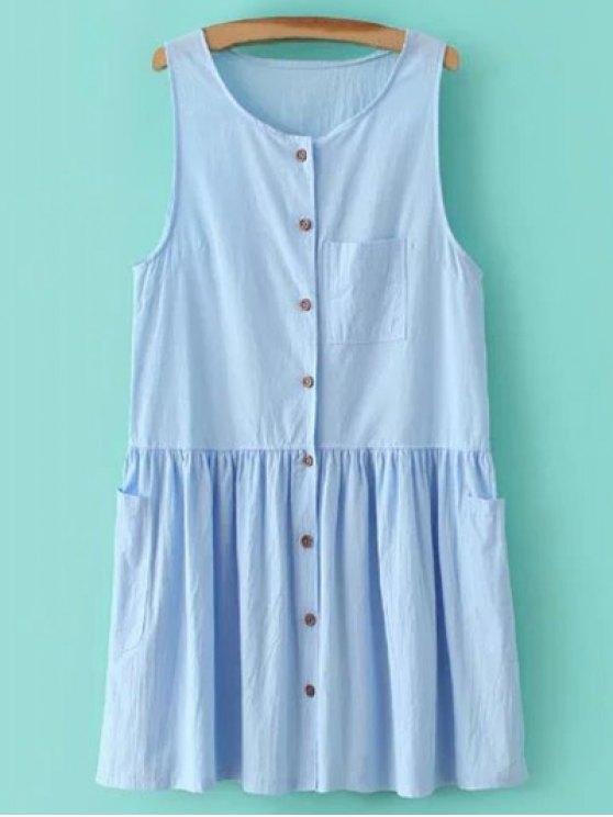 womens Smock Button Up Pocket Dress - LIGHT BLUE L
