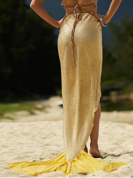 Color sólido de alta Hem falda sirena baja - Dorado XL