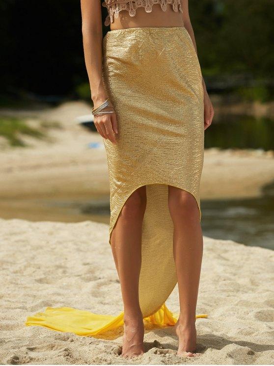 Solid Color High Low Hem Mermaid Skirt - GOLDEN XL Mobile