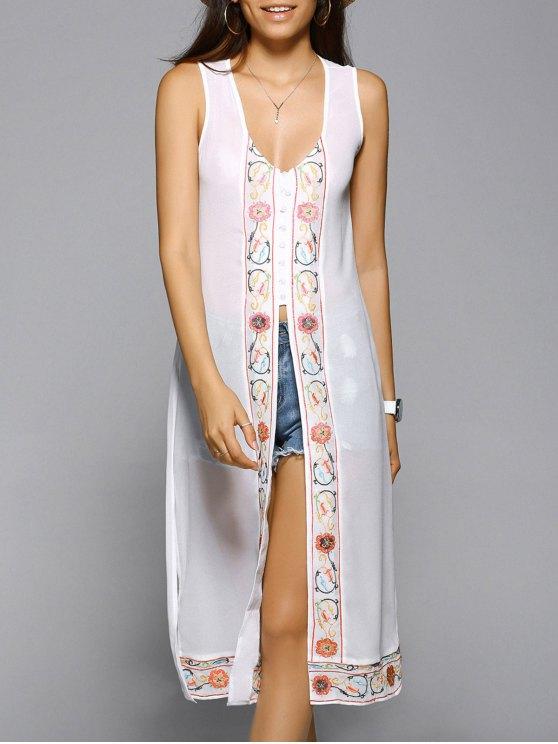 Rajó el cuello en V vestido sin mangas bordado - Blanco M