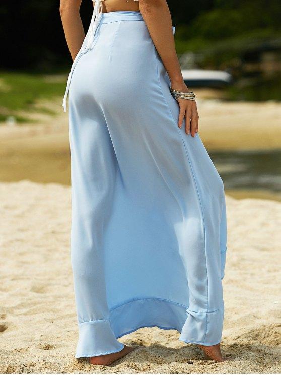 Blue Founce High Waist Light Skirt - LIGHT BLUE L Mobile