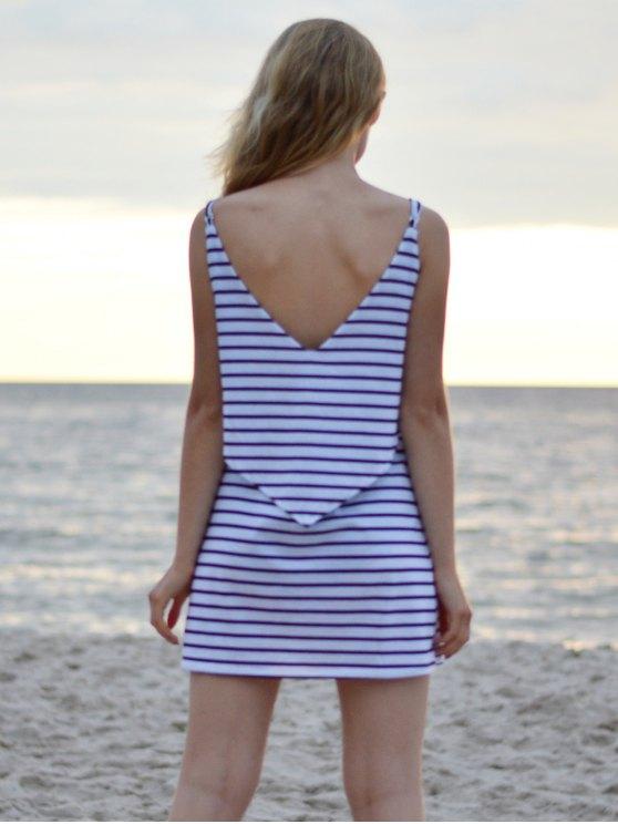 Striped Spaghetti Overlay Dress - WHITE M Mobile