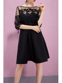Lace Flower Embroidered See Through Dress - Black Xs