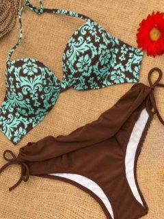 Molded Cup Baroque Print Underwire Bikini Set - S