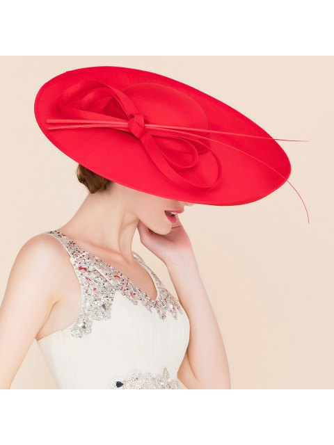 womens Elegant Red Cocktail Hat - RED  Mobile