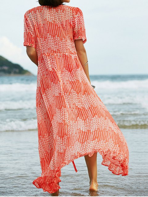 fancy Print Ruffles Short Sleeve Dress with Cami Dress Twinset - SWEET ORANGE M Mobile