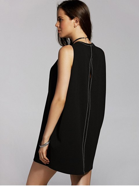 shop Back Cut Out Round Neck Sleeveless Straight Dress - BLACK S Mobile