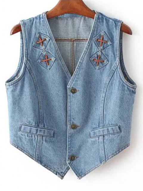 new Criss Cross Bleach Wash Denim Waistcoat - LIGHT BLUE L Mobile