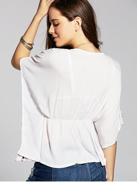 sale Embroidered Drawstring Cover Up - WHITE ONE SIZE(FIT SIZE XS TO M) Mobile