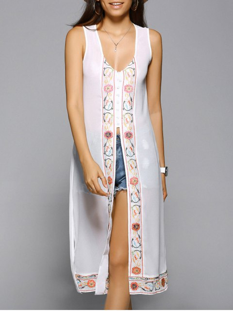 new High Slit V-Neck Sleeveless Embroidery Dress - WHITE M Mobile