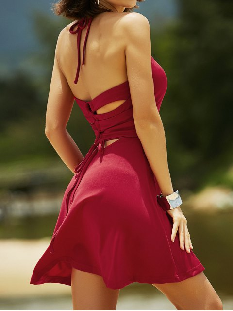 outfits Cut Out Lace-Up Halter Sleeveless Dress - RED L Mobile
