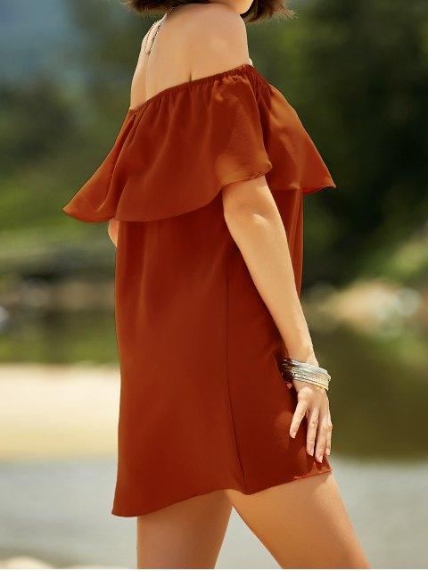 ladies Off The Shoulder Flounced Mini Dress - JACINTH M Mobile